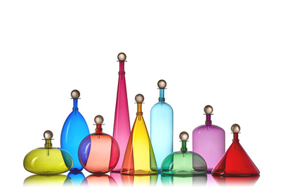 hand-blown glass in a rainbow of vibrant colors by Vetro Vero