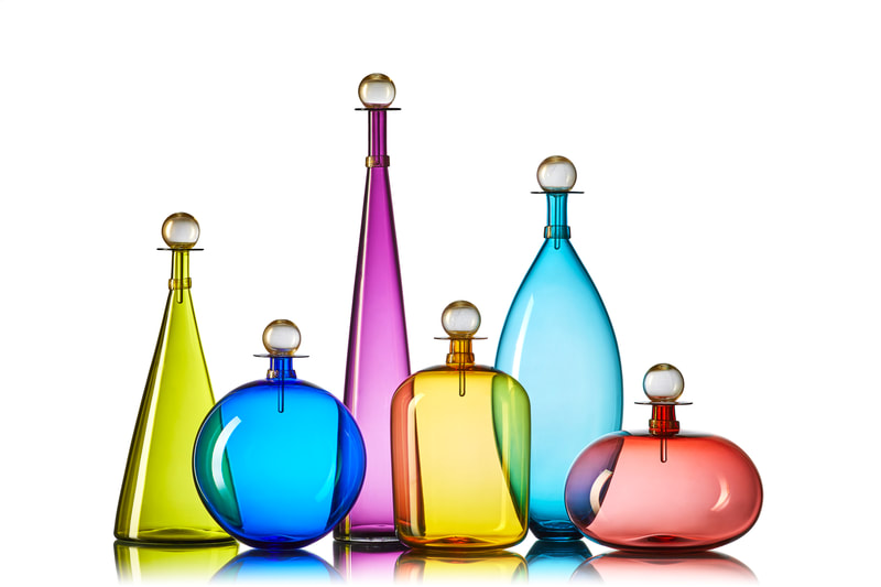 Vibrant glass color decanters, vases and vessels by Vetro Vero.