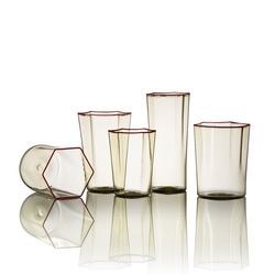 Hand blown glass amber tumblers