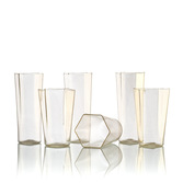 6-sided Handblown Glass Tumblers Modern Contemporary Design