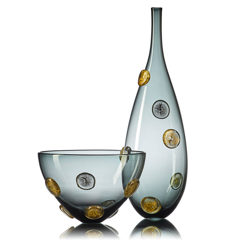 Handblown grey glass statement vessels with metallic details by Vetro Vero