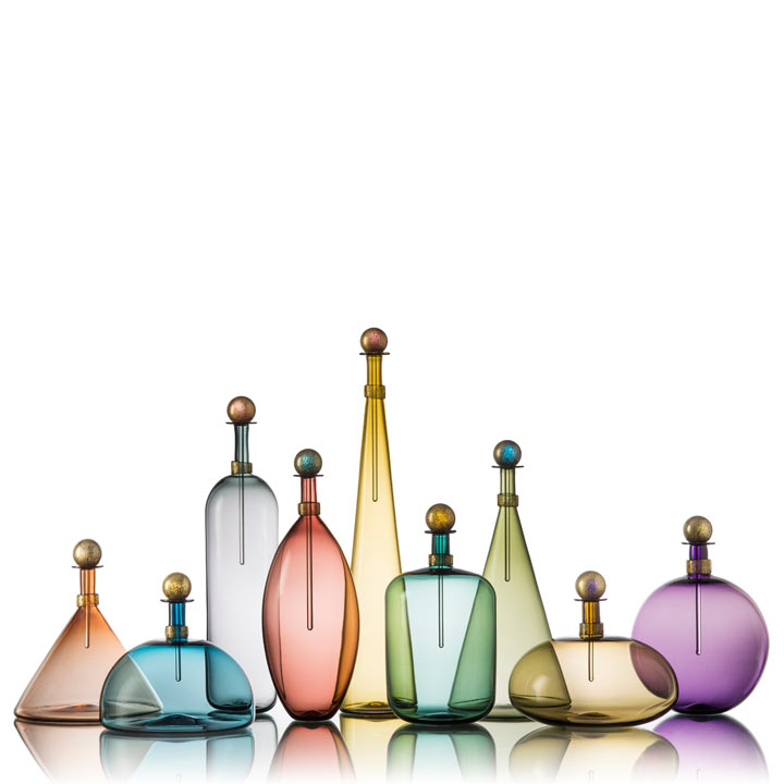 Picture of Hand Blown glass bottles in smoky colors