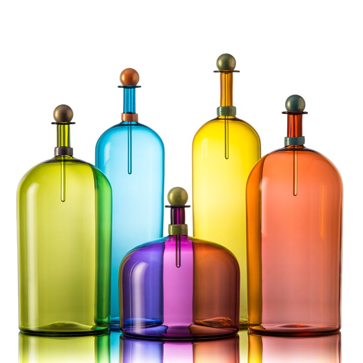 image of coloful handblown glass bottles